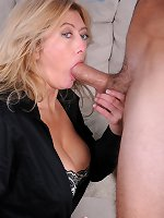 Milf with glasses shows off her big tits and hairy cunt